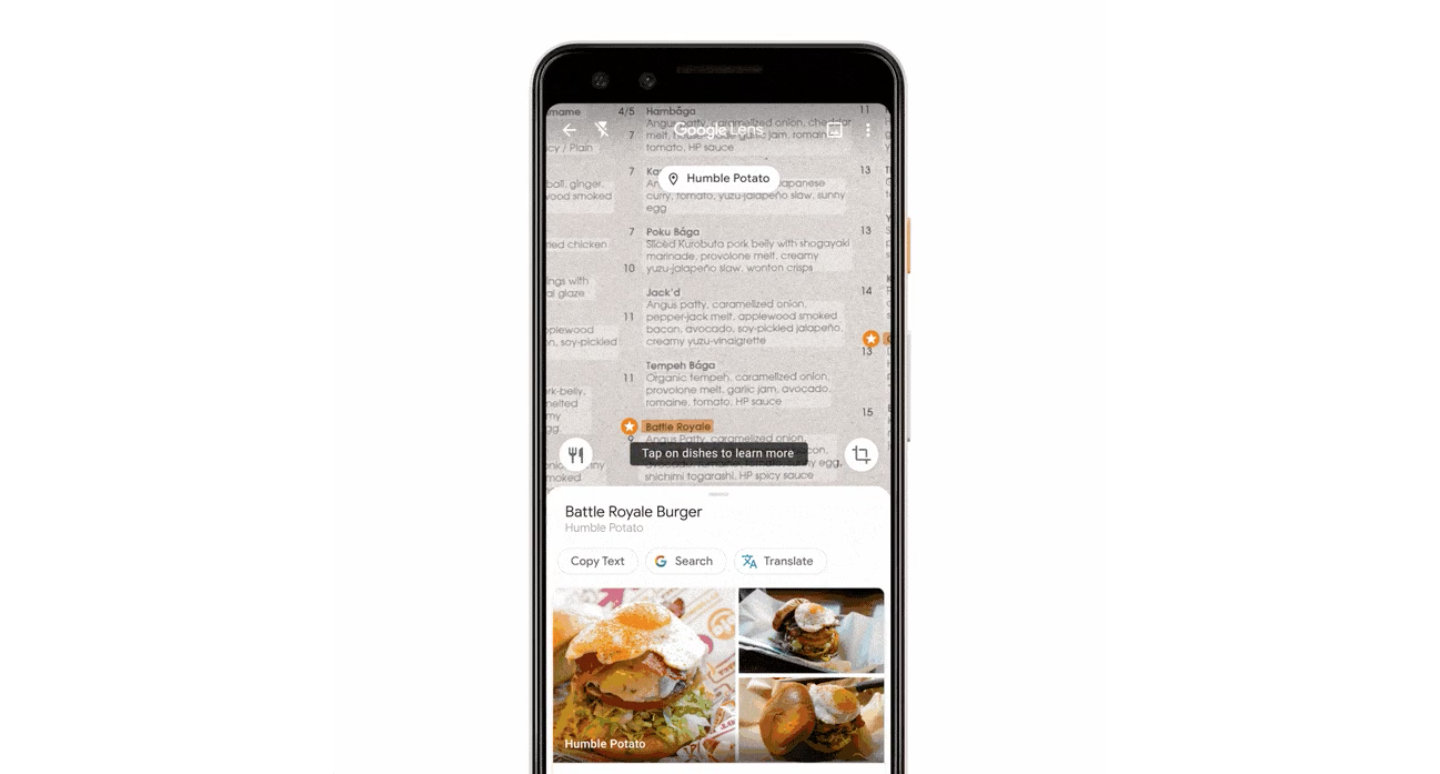 Google Lens helps you choose the best dishes when browsing restaurant menus in Maps
