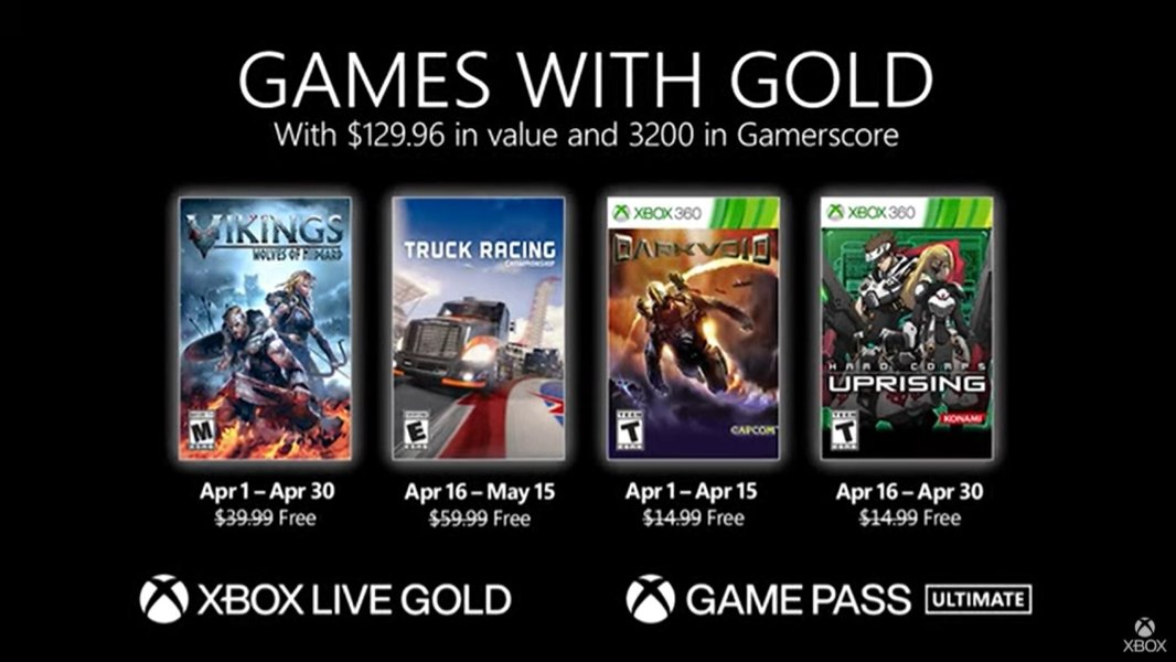 Microsoft Announces Games with Gold for April